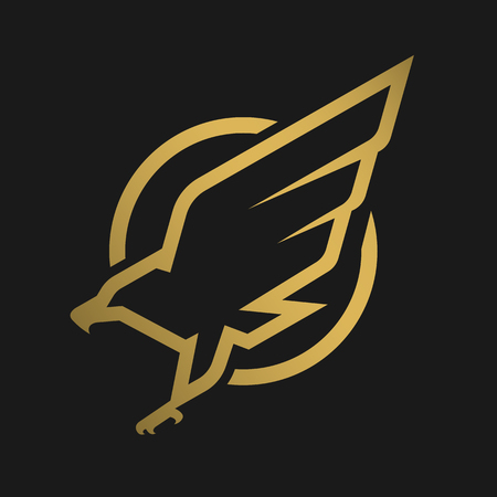 Eagle logo, emblem on a dark background. Stock Illustratie