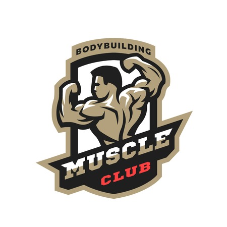 Muscle club. Bodybuilding emblem, logo.