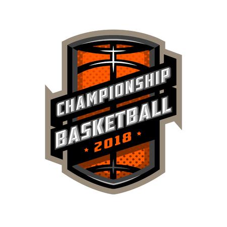Championship basketball, sports icon emblem.
