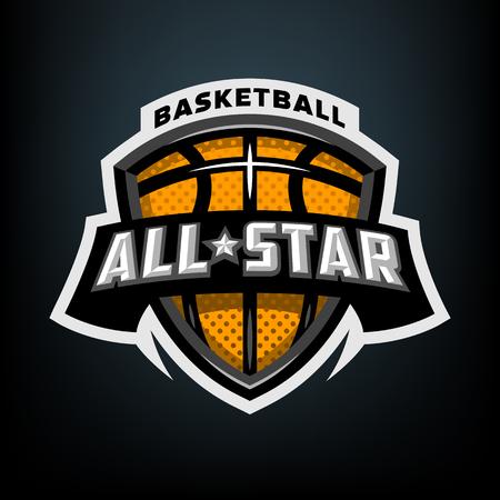 All star basketball, sports logo emblem. 스톡 콘텐츠