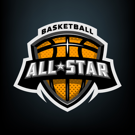 All star basketball, sports logo emblem. Stock Photo