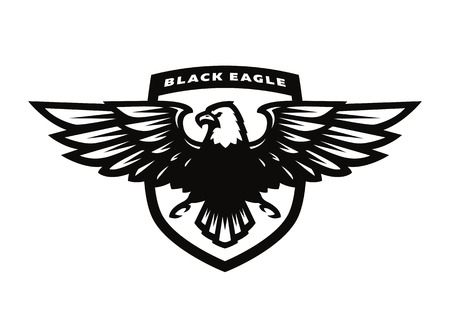 Black eagle logo, symbol, emblem. Stock Illustratie