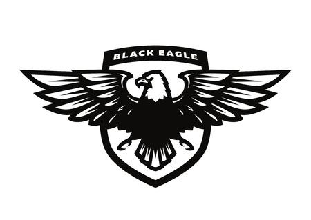 Black eagle logo, symbol, emblem. Illustration