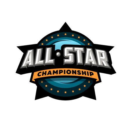 Tutti gli sport da star, design del logo del modello. Logo