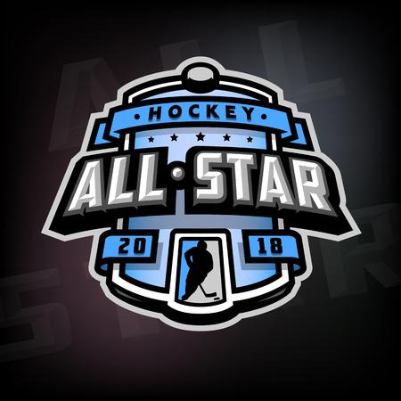 All stars of hockey, logo, emblem.