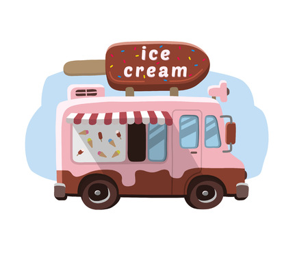 Van with ice cream, mobile shop. Illustration
