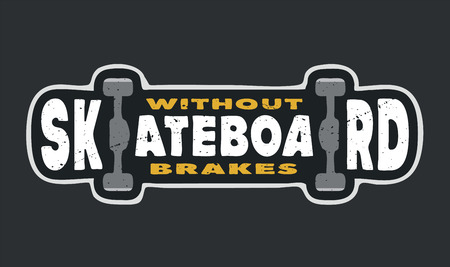 Skate board typografie, t-shirt afbeelding op een donkere achtergrond. Vector Illustratie