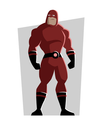 Cartoon superhero in a red suit.