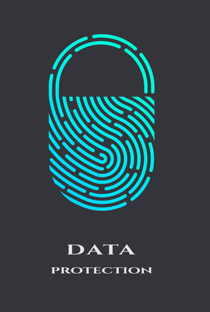 Fingerprint padlock logo, sign.