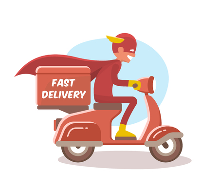 Fast delivery, the boy in a superhero costume. Vector illustration.