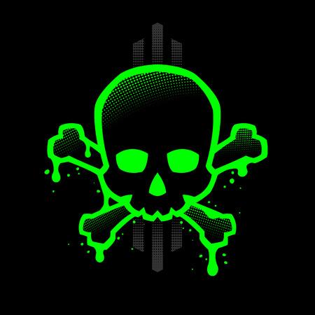 Cráneo con un contorno verde brillante con manchas de pintura. Ilustración de vector. Ilustración de vector