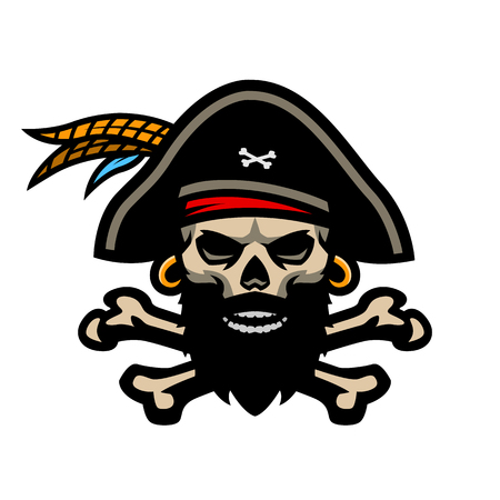 Crâne, capitaine de pirates et os croisés. Vecteurs