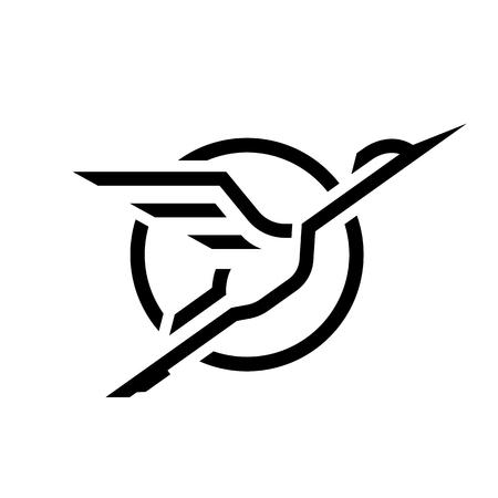 Flying Stork, linear logo. Stock Illustratie