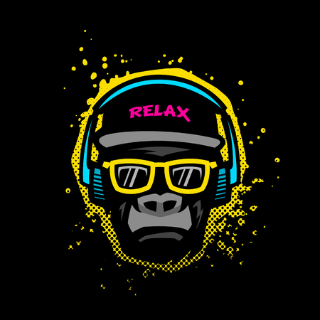 Monkey with glasses and headphones. Illustration in bright colors on grunge texture background. Çizim