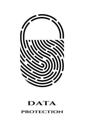 Logotipo de candado de huellas dactilares, signo.