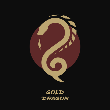 Dragon logo, against the background of the sun.  イラスト・ベクター素材