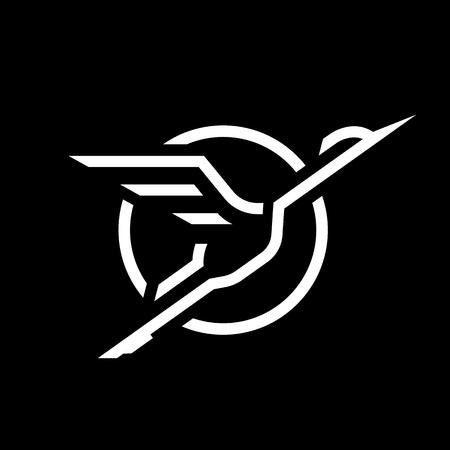 Flying Stork, lineair logo op een donkere achtergrond.