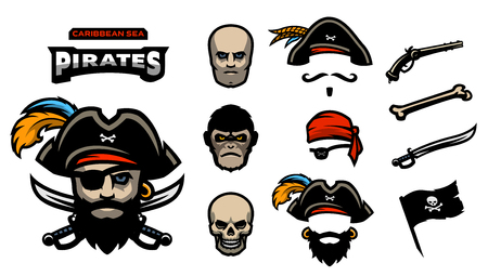 A set of elements for creating pirated logos. Hats, bandana, mustache, beard. Pistols, bones, sabers and a pirate flag. Illustration