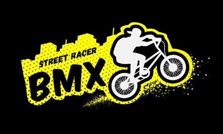 Bmx racer, emblem in grunge style on a dark background. Illustration