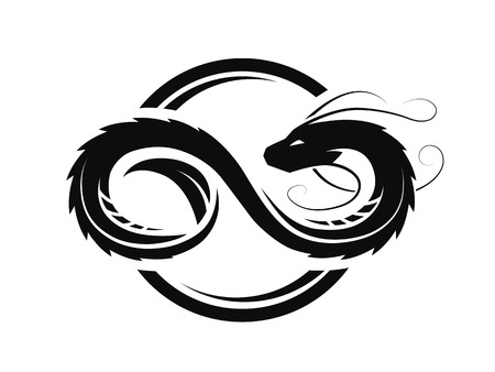 Dragón en forma de infinito, logotipo circular, símbolo. Logos