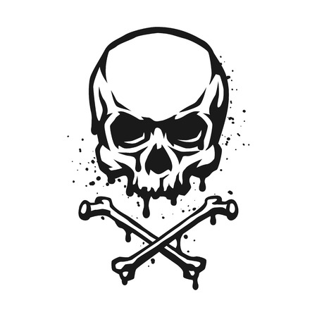Schädel und gekreuzte Knochen im Grunge-Stil. Vektorgrafik