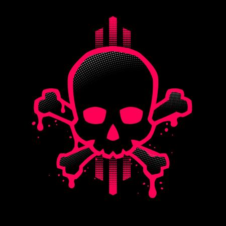 Crâne avec un contour rouge vif avec des taches de peinture. Illustration vectorielle.