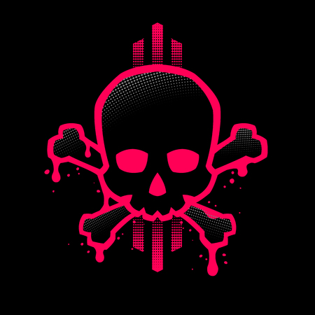 Skull with a bright red outline with paint stains. Vector illustration. Illustration