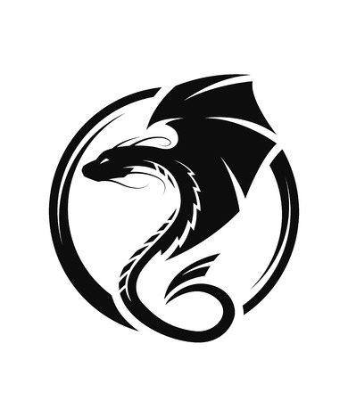 Winged dragon circle logo, symbol.
