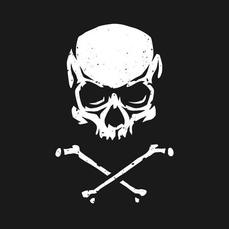 Skull and crossbones in grunge style on a dark background. Illustration