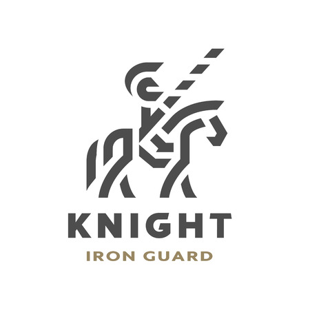Equestrian knight, linear logo, symbol. Vector illustration.