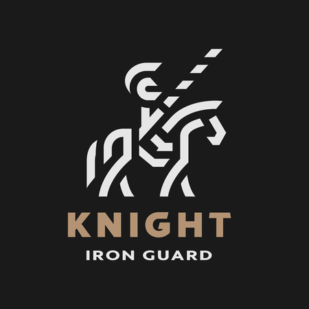 Equestrian knight, linear logo, symbol on a dark background. Vector illustration.
