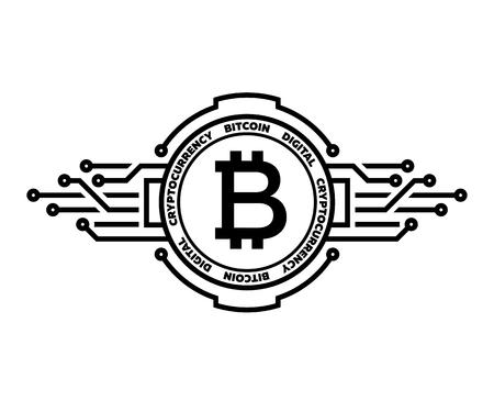 Bitcoin, abstract silver symbol of internet money. Digital Crypto currency symbol. Ilustração