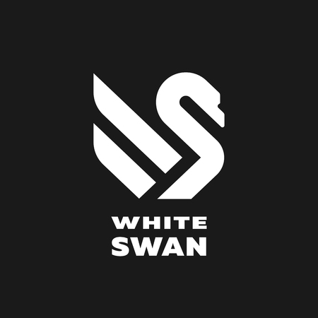 White swan linear logo, simbol. Vector illustration.  イラスト・ベクター素材