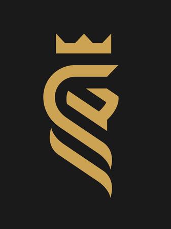 Lion king, linear logo, symbol on a dark background.