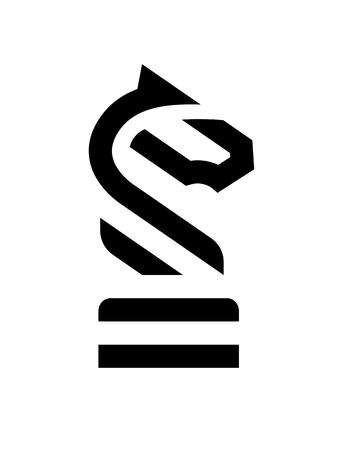 Chess Knight Horse linear logo. Vector illustration.