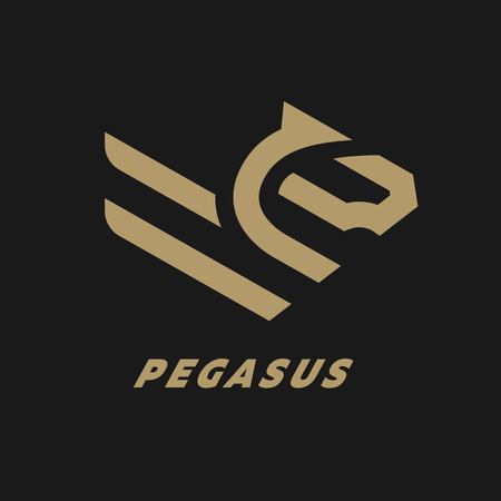 Pegasus, flying horse linear logo on a dark background.