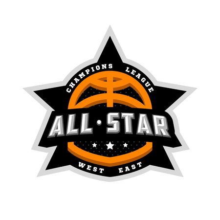 All star basketball, sports logo, emblem. Vector illustration.