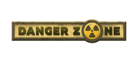 Danger zone, grungy emblem, sign. Vector illustration.
