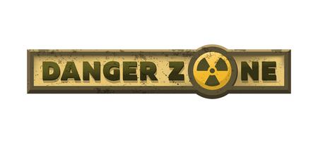 Danger zone, grungy emblem, sign. Vector illustration. Stockfoto - 118938628