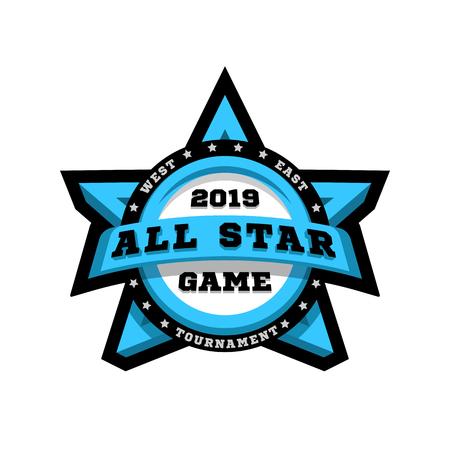 All star game. Sport emblem, logo, in the shape of a star. Vector illustration. Ilustrace