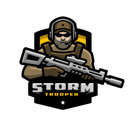 Storm trooper mascot, logo design. Vector illustration.