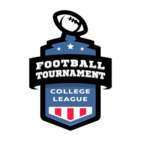 Football college tournament emblem logo. Vector illustration.