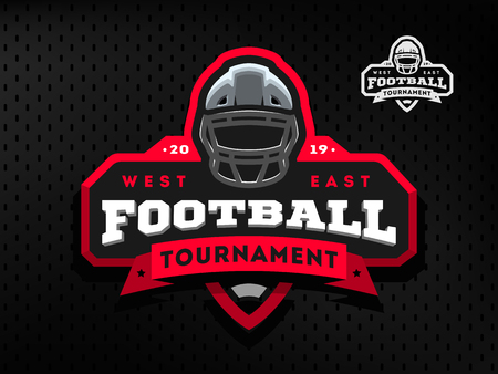 American Football tournament emblem, logo Foto de archivo