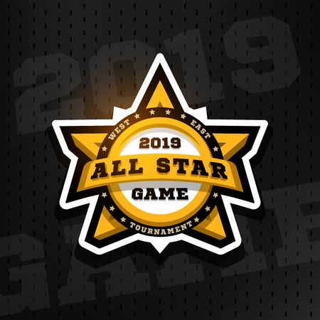 All star game. Sport emblem, logo, in the shape of a star on a dark background.