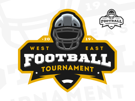 American Football tournament emblem, logo. Vector illustration.
