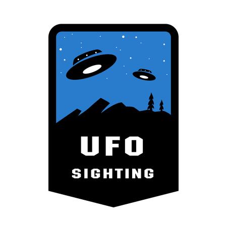 UFO-Sichtungsabzeichen und Logo-Emblem. Vektor-Illustration.