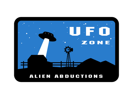 UFO zone badges and logo emblem. Vector illustration.
