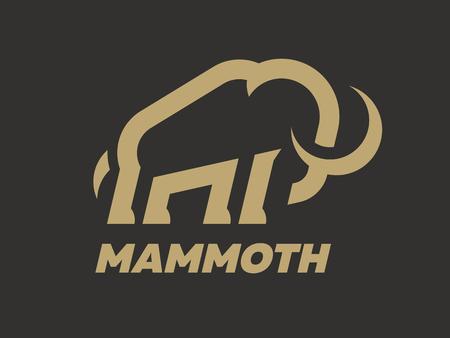 Plantilla de logotipo de mamut sobre un fondo oscuro. Ilustración de vector.