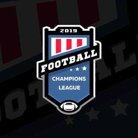 Football champions league emblem logo on a dark background. Vector illustration.