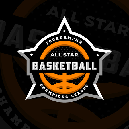 All star basketball, sports logo, emblem on a dark background. Vector illustration.